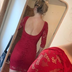 Mystic Dresses - red lace bodycon dress